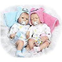 QXMEI Simulación Baby Twins Reborn Baby Dolls Realista Realista Hecho A Mano De Silicona Realista Baby Baby Soft Doll Magnetic Mouth 22 Pulgada 55 Cm,Twins