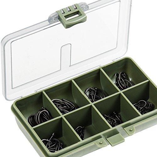 Fladen 80sortierte und gebogene Karpfenhaken ohne Widerhaken(Größe 4, 6, 8und 10) in Aufbewahrungsbox mit mehreren Abschnitten-15cm x 12cm x 3cm [14-81180Digital]