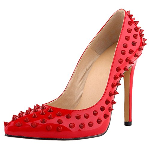 Oasap Damen Fashion Nieten Stiletto High Heels Red