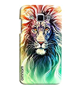 Omnam Coloful Lion Face Printed Designer Back Cover Case For Samsung Galaxy J3