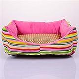 Wuwenw Cute Pet Nest Fashion Rainbow Striped Pet Dog Dog Sofa Bed 50X40X12Cm