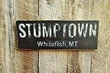CELYCASY Decorazione Rustica per la casa, Cartello Stumptown, Montanta, Ice den Hockey, Big Mountain, Montana, Decorazione per Bar, Cartello Sci, Effetto Invecchiato