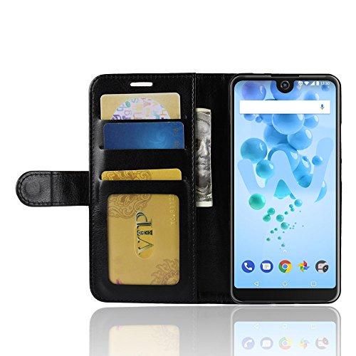 Wiko View 2 Pro Brieftasche Flip Hülle - 2 in 1 Flip Handysocken Schutzhülle Litschi-Textur Standfunktion Tasche und - Beschützer Smartphone (Schwarz)