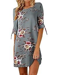 Vestido de Otoño de Mujer, Dragon868 Impresión Floral Bowknot Vestido de Cóctel Informal Vestido de