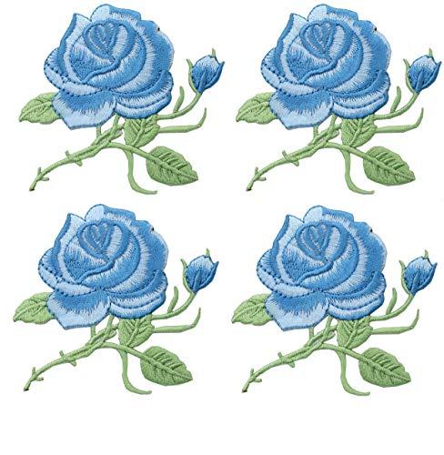 4 Stück bestickt Patches Blume Nähen auf Patches Rose Patch für Jeans, Kleidung, Hut, Schuhe Applikationen DIY Zubehör
