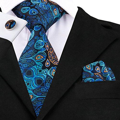 HYCZJH Blaue Blumen Krawatte Seide Jacquare gewebte Krawatten für Männer Design Männer Kleid Krawatte Set Gravats -