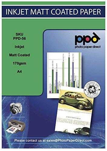 Photo Paper Direct PPD-56 Carta di qualità fotografica a getto d'inchiostro con finitura opaca, A4 (29.7x21cm), Confezione da 100 fogli