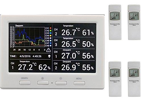 Termometro wireless Froggit DL5000,stazione meteo radio con data logger e 4sensori radio (analisi PC, temperatura, umidità dell\'aria, indice di calore, punto di rugiada)