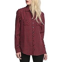 V-SOL Camisa Blusa Mujer Escocés a Cuadros Algodón Manga Largo Rojo Asia M/Busto 92CM