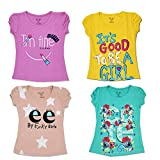 Kid's Care Girl's Cotton Half Sleeve Regular Fit Round Neck Printed T-Shirt Top Combo Set (FNKG8-26, Multicolour, 5-6 Years) - Pack of 4