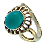 Messing Ringe Onyx grün Blume oval 19 mm antik golden nickelfrei Tribal Brass 56 (17.8)