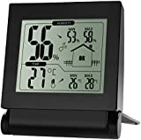 HoLife Indoor Digital Wireless Hygrometer Thermometer Monitor Temperature and Humidity Sensor with Large LCD Screen - Black