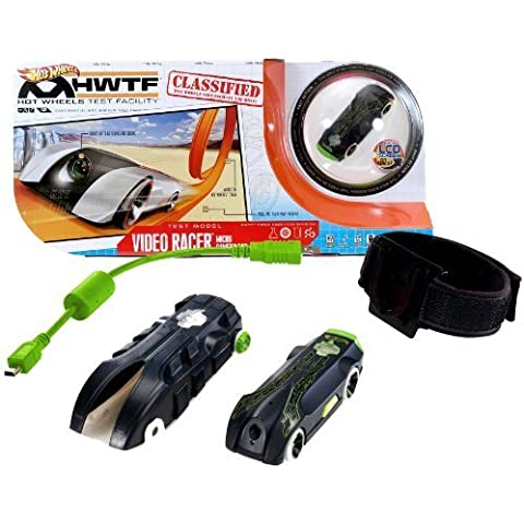 Hot Wheels Year 2012 Video Racer Micro Camera Car Playset with Black Protective Action Case, Black Car with Built In LCD Screen on Back, USB Cable, 4 Mounting Brackets, 2 Adhesive Strips and 1 Adjustable Strap (Tracks are not Included) by Video