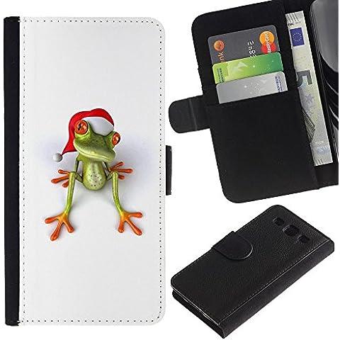 For SAMSUNG Galaxy S3 III / i9300 / i747,S-type® White Christmas Holidays Happy Gift - Disegno di cuoio di stile del raccoglitore della Case di telefono della pelle custodia protettiva - Happy Holidays Disegno