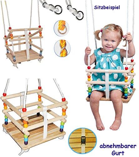 alles-meine.de GmbH Schaukel aus Holz -  Gitterschaukel mit Gurt  - Babyschaukel / Kinderschaukel - Leichter Einstieg ! - mitwachsend & verstellbar - verstellbare Kleinkindscha..