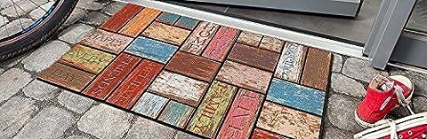 Schmutzfangmatte / Fußmatte / Fussmatte / Fußabstreifer / Fußabtreter / Schmutzmatte Modell Wood / Ziegel bunt - witzig lustig 3D 3 D Optik Größe ca. 45 x 75 cm / Ecomat-Fußmatte / sehr hochwertige Fußmatte