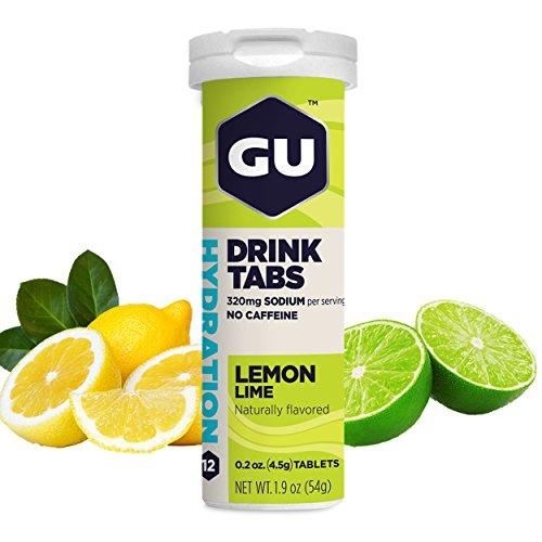 GU Brew Hydration Drink Tabs (Elektrolyt-Brausetabletten), Lemon Lime (Zitrone-Limette), 12 Stück -