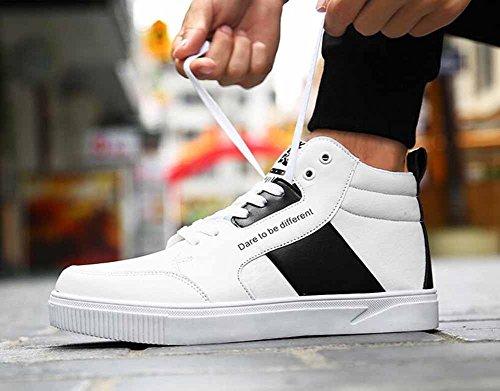 Uomini Scarpe Da Skateboard Traspiranti Alti In Pelle Autunno Inverno Hip Hop Street Scarpe Casuale Scarpe Taglia Larga White
