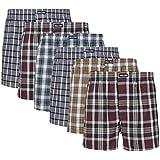 6 gewebte 100% Baumwoll Herren Boxershorts in schönen Mustern ohne Eingriff wahlweise auch mit Eingriff und Tasche Boxers Shorts Webboxer Boxer