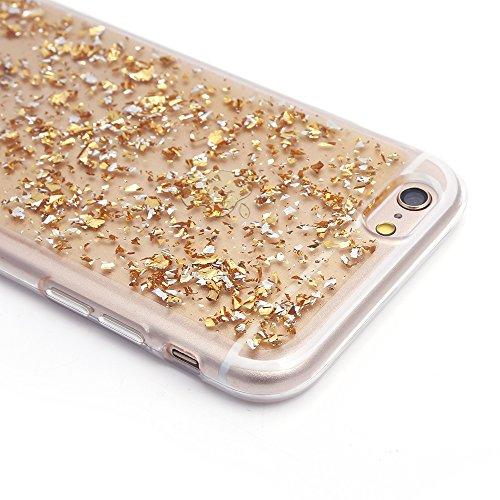 "iProtect Apple iPhone 6, 6s (4,7"") biegsame TPU Soft Case Hülle Glitzer Pailletten Design in Silber Gold iPh6"
