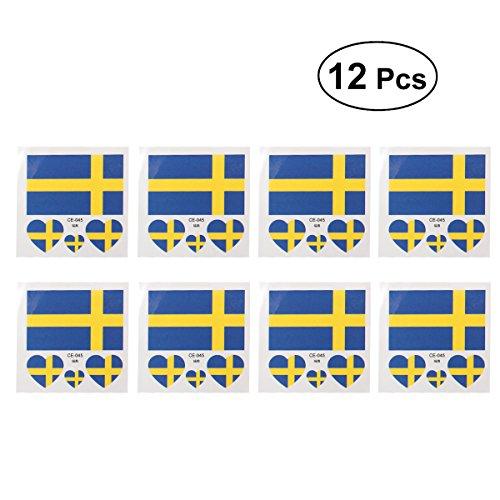 Luoem bandiera bandiera svezia paesi tatuaggi temporanei di fan articolo mondiali di calcio 201812pezzi sweden