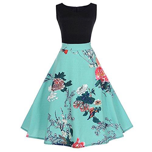 SEWORLD Elegant Kleid Damen Heißer Einzigartiges Design Mode Frauen Elegant Abendkleid Vintage Bedrucktes Lässige Abend Party Prom Swing Kleid Ärmelloses Kleid(X2-1-blau,EU:40-42/CN:2XL)