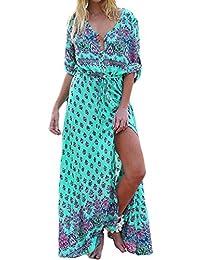 Mujeres Bohemio V Cuello Botón Floral Swing Maxi Dress Plus Size