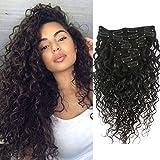 Wellmi Deep Curly Clip In Menschen Haarverlängerungen für Frauen 8 Stücke 20 Clips 120g 8A Jungfrau Remy Brasilianische Welliges Lockiges Haar Natürliche Farbe 45,7 cm (18 Zoll)