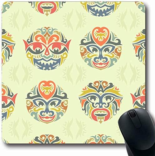 Luancrop Mousepad längliche abstrakte polynesische Stammes- Maske kultureller Strudel Tiki afrikanische Aloha alte Entwurfs-Zeichnungs-Büro-Computer-Laptop-Notizbuch-Mausunterlage, Rutschfester Gummi