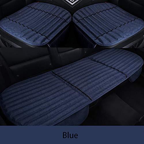 YGB Seggiolino Auto in carboncino di bambù Cuscino per seggiolino Auto in Tre Pezzi Senza Schienale (Colore :Colore del caffè), Blue