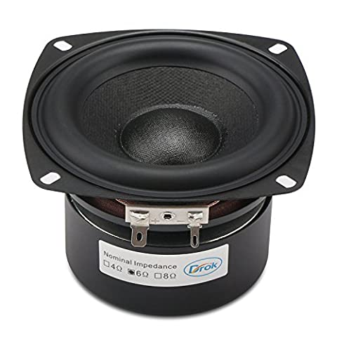 DROK® 40W HIFI Stereo Speakers with Subwoofer, 6Ω 4-inch Anti-magnetic Loudspeakers with Super Low Bass, Square Home Woofer Speakers with 87dB High Sensitivity, Subwoofer Loudspeaker with Super Large Rubber Edge
