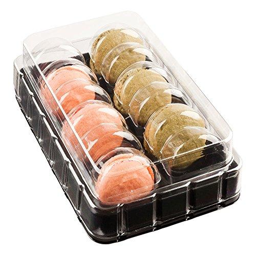 restaurantware rwp0214b Schock Sicher Go Verpackung 3Macarons Box (100Stück) 12 PIECES schwarz/transparent