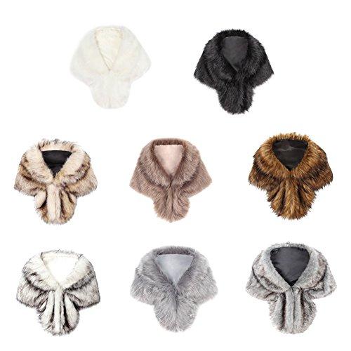 iBaste 2017 nouvelles femmes fourrure poncho automne hiver sexy moderne réchauffement cape fourrure châle écharpe col fourrure Pashmina Kaki