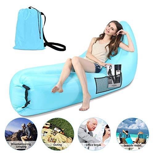 Lettino gonfiabile divano aria portatile impermeabile anti-aria che perde il materassino gonfiabile con cuscino e borsa per campeggio all'aperto, picnic, piscina, viaggi, escursionismo, spiaggia