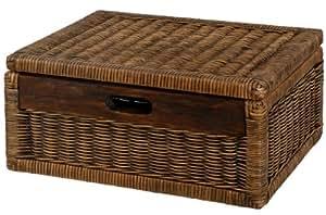 korb mit deckel rattan geflochten farbe vintage braun regalkorb schrankkorb. Black Bedroom Furniture Sets. Home Design Ideas