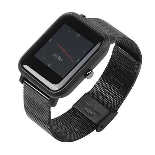 Longra*Longra 2018 Moda Nuevo Producto Pulsera de Reloj de Pulsera de Acero Inoxidable milanesa para Huami Amazfit Bip Reloj Juvenil (Negro, Tamaño Estándar)