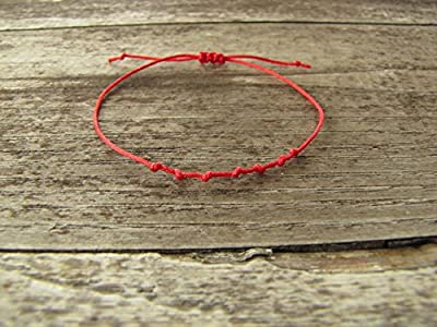 Bracelet rouge 7 noeuds - cordon rouge nylon