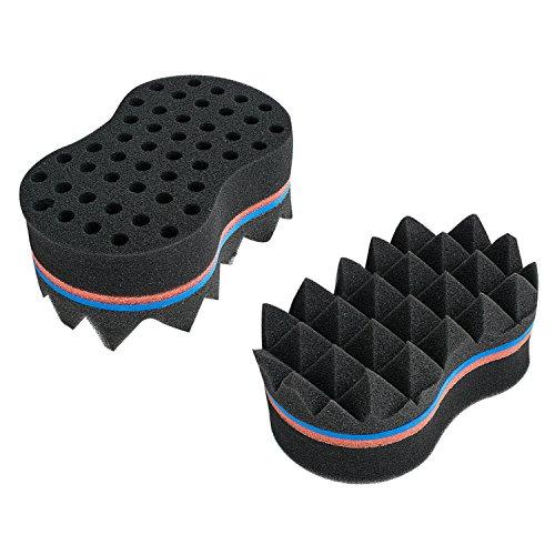 Carejoy Pyramide Conception double face 2 en 1 Magic Twist Cheveux éponge Afro Braid Style Dreadlock bobines éponge Brosse