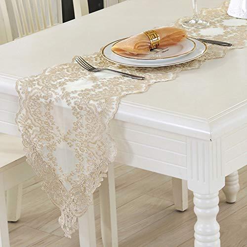 Chemin de table en dentelle blanc, napperon de coton à broderie carrée, drapeau de meuble de la table basse en tissu de la table basse et décorations de banquet de scène de mariage