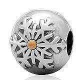 soulbead Pays des Merveilles d'Hiver flocon de neige en argent sterling 925avec or plaqué clip Perle pour vacances de Noël Bracelet Bijoux