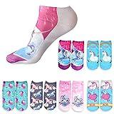 DRESHOW Lustige Unicorn Cartoon Socken Regenbogen 3D Print Emoji Emoticons No Show Socken für Mädchen Frauen Pack 2/6