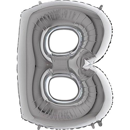 n Silber - XXL Riesenbuchstabe 100cm - für Geburtstag Jubiläum & Co - Party Geschenk Dekoration Folienballon Luftballon Namen Wörter (Buchstabe B) ()