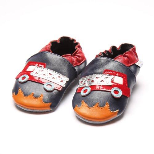 Jinwood designed by amsomo - Jungen - Maedchen - Hausschuhe - ECHT LEDER - Lederpuschen - Krabbelschuhe - soft sole / mini shoes div. Groeßen fire engine soft sole