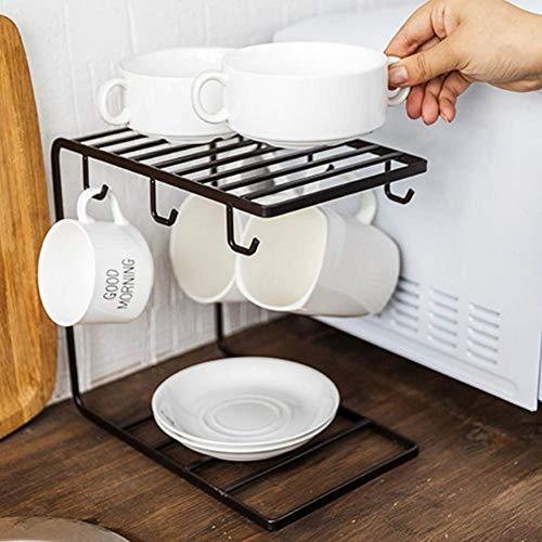 Stilvolle Tasse Holder Organizer Ständer mit 6 Haken, Metall Kaffee Tassen Rack Ständer Küche Storage Rack Schrank Haken zum Aufhängen Tasse Herd Besteck Aufbewahrung Halter für Küche Zähler Schwarz Mug Rack
