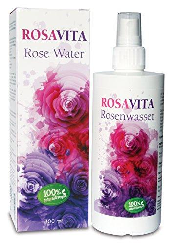 Rosavita Rosenwasser Gesichtswasser Rosendestillat, 100% natürlich, vegan 300 ml (43,30 €/Liter), GRATIS 8 ml Probe, ohne Zusatz von Alkohol