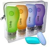 Set di 4x 89ml bottiglie da viaggio in silicone con 2 astucci protettivi per spazzolino da denti da Travel Gadgeteer. Prodotto approvato dall'ente per la sicurezza dei trasporti TSA (USA).