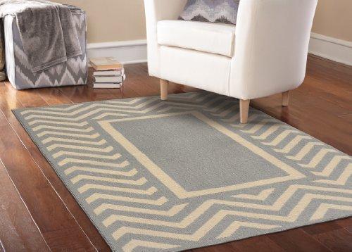 Girlande Teppich Chevron Rahmen Bereich Teppich, Polypropylen, Silver/Ivory, 5' x 8' (Chevron Garland)