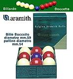Bilie boccette Super Aramith Diametro m.59, pallino Diametro m.54 in Resina fenolica 4 Rosse - 4 Bianche - pallino Blu. Biliardo a Sei buche