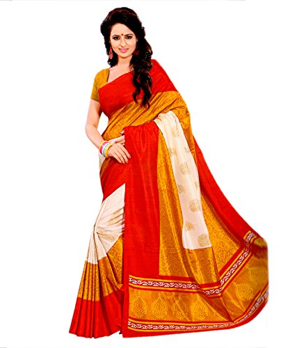 Miraan Art Silk Saree with Blouse Piece (VI1924_Red_One Size)
