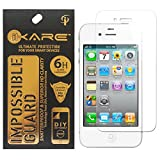 iKare Front Back Tempered Glass Screen Protector for Apple iPhone 4 4S (Impossible Glass, REUSABLE, ULTRA CLEAR, REAL SHOCK PROOF, UNBREAKABLE)